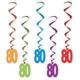 """Suspensions à spirales """"Pois et rayures colorés"""" 80 ans 5 pcs."""