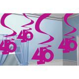 """5 suspensions à spirales """"40 ans"""" 60 cm"""