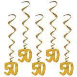 """5 suspensions à spirales dorées """"50"""" 91 cm"""