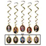 """Suspensions à spirales """"Présidents américains"""" 5 pcs"""