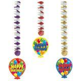 """Suspensions Ballons """"Happy Birthday"""" 3 pièces"""