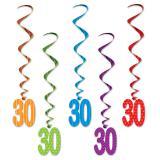 """Suspensions à spirales """"Pois et rayures colorés"""" - 30 ans 5 pcs."""