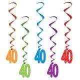 """Suspensions à spirales """"Pois et rayures colorés"""" - 40 ans 5 pcs."""