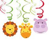 """6 suspensions à spirales """"Adorables animaux de la jungle"""""""