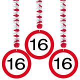 """3 suspensions """"Panneau de limitation de vitesse 16 Ans"""""""