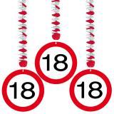 """3 suspensions """"Panneau de limitation de vitesse 18 ans"""""""