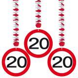 """3 suspensions """"Panneau limitation de vitesse 20 Ans"""""""