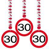 """3 suspensions """"Panneau de limitation de vitesse 30 ans"""""""