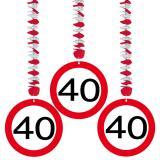 """3 suspensions """"Panneau de limitation de vitesse 40 ans"""""""
