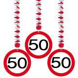 """3 suspensions """"Panneau de limitation de vitesse 50 ans"""""""