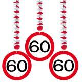 """3 suspensions """"Panneau de limitation de vitesse 60 ans"""""""