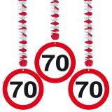 """3 suspensions """"Panneau de limitation de vitesse 70 Ans"""""""