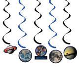 """Décos à spirales """"Espace"""" Happy Birthday 5 pcs"""