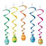"""Décos à spirales """"Œufs de Pâques colorés"""" 102 cm 5 pcs"""