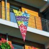 """Fanion XXL """"Happy Crazy Birthday"""" 90 x 150 cm"""