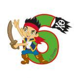 """Bougie chiffre 6 """"Jake & les Pirates du Pays Imaginaire"""" 6 cm"""